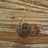 """Gold """"Be Happy"""" Necklace - Solid Gold """"Be Happy"""" Necklace - Medallion Necklace - Happy Jewelry - Sentiment Jewelry"""