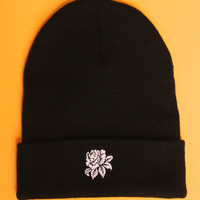 White Rose Black Beanie