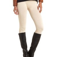 Seamless Cable Knit Leggings by Charlotte Russe - Cream