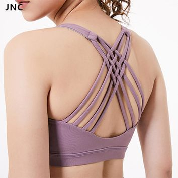 New Women's Lavender Strappy Back Wirefree Padded Workout Yoga Sports Bra Push Up Fitness Sport Top Workout Gym Bra Activewear