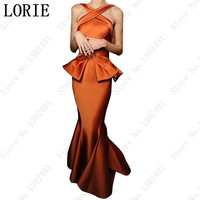 Halter Ruffles Ruffles Mermaid Elegant Evening dress bodycon dress Prom gown Celebrity Dresses Fashion Gowns Orange Long Dress