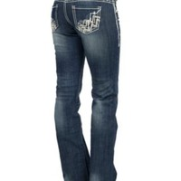 Rock & Roll Cowgirl Women's Dark Vintage Wash Chevron Embroidery & Leather Pocket Riding Fit Boot Cut Jean