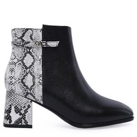 Multi Color Faux Snake Skin Ankle Booties - Black