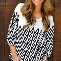 Ladder To The Top Blouse: White/Black | Hope's