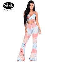 HongMiao Print Two Piece Women Jumpsuit Spaghetti Strap Crop Top and Pants Sexy Backless Romper High Waist Bodycon Clubwear