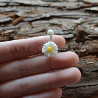 White resin flower belly button ring, Navel Piercing, friendship belly rings,  Stud Piercing , Belly Button Piercing, Belly jewelry
