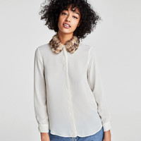 SHIRT WITH EMBELLISHED TEXTURED COLLARDETAILS