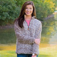 Heathered Quarter Zip Sherpa Pullover in Walnut Brown by The Southern Shirt Co.