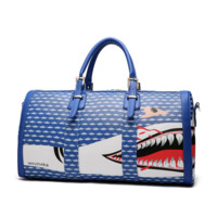 AAPE Women Men Shark Leather Luggage Travel Bags Tote Handbag