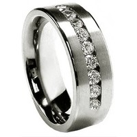 Men's Size 11 Stainless Steel 8MM with 9 CZ's  Wedding Band Ring