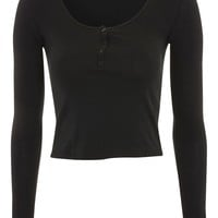Long Sleeve Button Front Top | Topshop