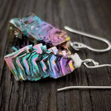 """Bismuth Jewelry - """"Angles of Eden"""" - Dangling Crystal Earrings"""