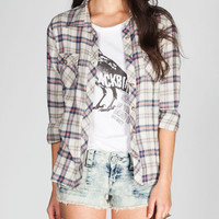 Mmxiii Womens Basic Plaid Flannel Shirt Ivory  In Sizes