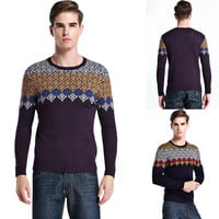 Geometric Knit Round Neck Pullover Sweater