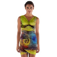 Painted Swirls Wrap Front Bodycon Dress