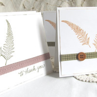 Rustic Chic Card Set - Hand Stamped - Set of 4 Cards - Fern Leaves - Natural Tones - Rustic Elegance - Blank Cards - Nature Theme