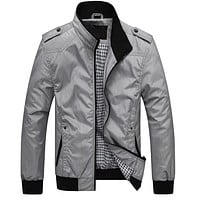 Mens Jackets Spring Autumn Casual Coats Solid Color Mens Sportswear Stand Collar Slim Jackets Male Bomber Jackets