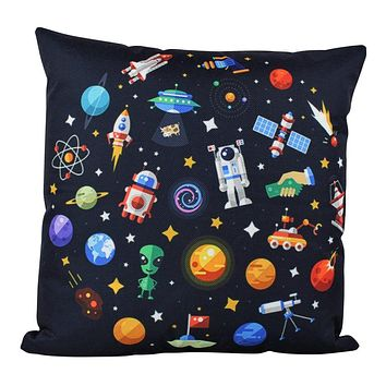 Aliens | Planets | Spaceship | Rocket Ship | Fun Gifts | Pillow Cover | Home Decor | Throw Pillows | Happy Birthday | Kids Room Decor