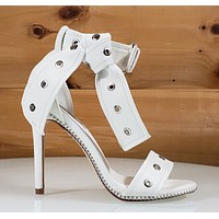 "CR Bullet Stud Trim White Vegan Leather Sandal 4.25""  High Heel Shoes"
