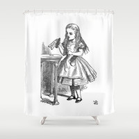 Drink Me vintage Alice in Wonderland emo goth antique book sketch drawing print Shower Curtain by iGallery