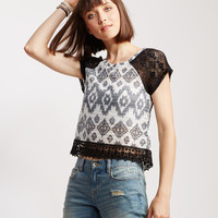 Sheer Ikat Lace Accent Top