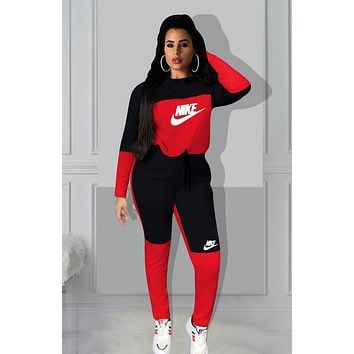 NIKE Fashion Women Print Hoodie Top Pants Trousers Set Two-Piece Sportswear
