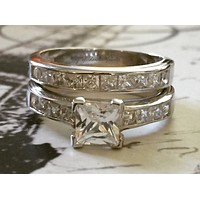 A 1.2CT Princess Cut Russian Lab Diamond Channel Set Bridal Set
