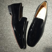 KUYOU Christian Louboutin Oxford CL fashion casual shoes red sole for men and women jeans 90522