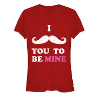 Valentine's Day I Mustache You to be Mine Juniors  Graphic T Shirt
