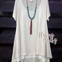 Plus Size Tan Tunic Top with Attached Lace Extender