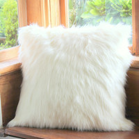 Giant White Faux Fur Cushion, Floor Pillow, White Faux Fur Cushion Cover, Faux Throw Pillow, Bean Bag