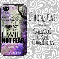 Psalms 23:4 Quote Apple iPhone 4 4G 4S 5G Hard Plastic or Rubber Cell Phone Case Cover Original Design
