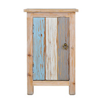 """Distressed Wood Cabinet With Rustic Colored Planked Door, 23"""""""