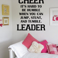 Cheerleader Its Hard to Be Humble Quote Decal Sticker Wall Vinyl Decor Art