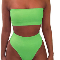Hot Sexy pure color strapless off shoulder two piece bikini high waist Green