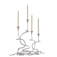 Morning Glory Small Nickel Candleholders - Set of 2