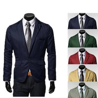 Fashion Slim Fit Stylish Casual One Button Suits Coats Jackets Blazers for Men