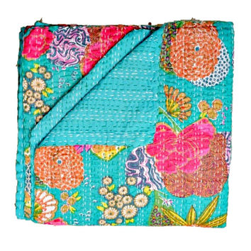 Queen Kantha Quilt in Turquoise green, Kantha Blanket, Kantha Throw, Kantha Bed Cover, Kantha Bedspread, Indian Sari Quilt, Indian Bedspread