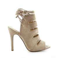 Nude Open Toe Lace Up Heels