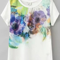 White Short Sleeve Floral Print T-Shirt