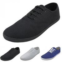 Mens Canvas Shoes Lace Up Slip On Casual Sneaker