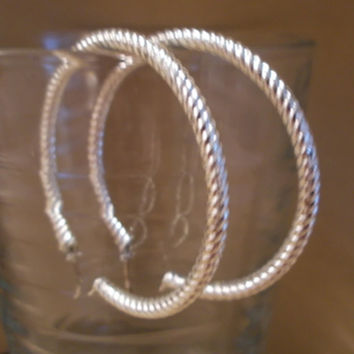 Vintage 80's Large Silver Twist Hoop Post Earrings w/ Safety Flip Backing, Simple, Elegant, Fashion Jewelry, Bold, Classic, Statement, Rope