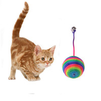 Naughty Pet Dog Cat Kitten Teaser Playing Play Chew Rattling Scratch Catch Toys Rope Weave Ball