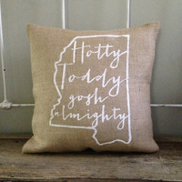 "Burlap Pillow, ""Hotty Toddy Gosh Almighty"", Ole Miss fight song- Christmas gift, Made to Order, Graduation Gift"