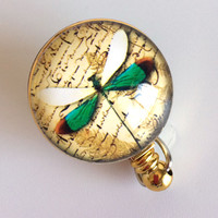 Retractable ID Badge Reel - Green White Dragonfly Metallic Gold Badge Reel - Belt Clip