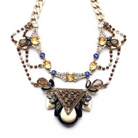 ZLYC Women's Gorgeous Luxurious Muti-Layer Chain Bead Statement Party Event Necklace