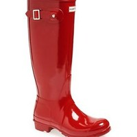 HUNTER ORIGINAL TALL GLOSS MILITARY RED WELLINGTON BOOTS Welly RED BN