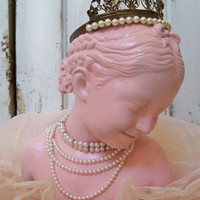 Pink lady statue bust shabby chic sculpture romantic adorned tiara rhinestone jewelry home decor by Anita Spero