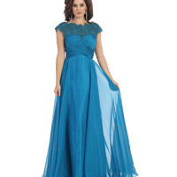 Modest Cap Sleeve Teal Gown 2015 Prom Dresses
