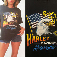 Vintage 1986 Harley Davidson Born In The USA Bald Eagle American Abilene Texas Desert Tee || 50 50 T-shirt || Mens Size Large ||  Ladies XL